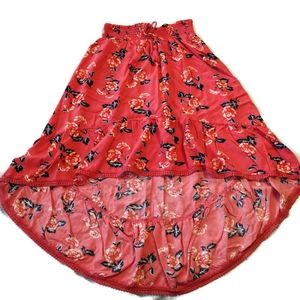 Justice High Low skirt 14 16 Orange Coral Roses